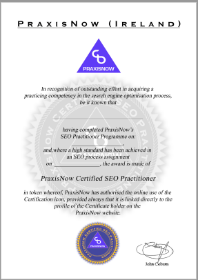PraxisNow Certified SEO Practitioner